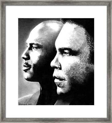 Michael Jordan And Muhammad Ali Framed Print by Rick Fortson