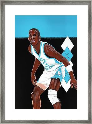 Michael Jordan Carolina Blues Framed Print by Dino Murphy