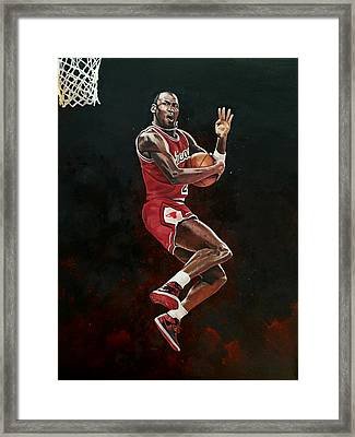 Michael Jordan Cradle Dunk Framed Print by Michael  Pattison