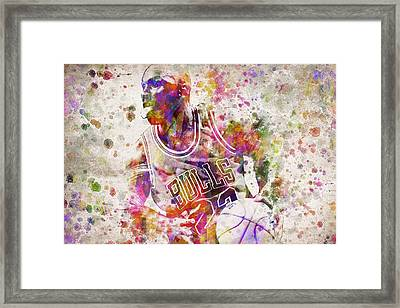 Michael Jordan In Color Framed Print by Aged Pixel