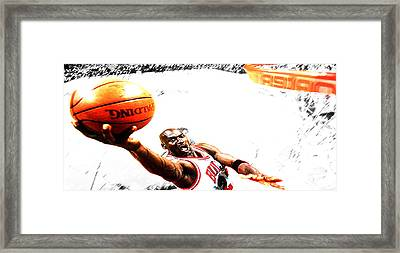 Michael Jordan Lift Off Framed Print by Brian Reaves
