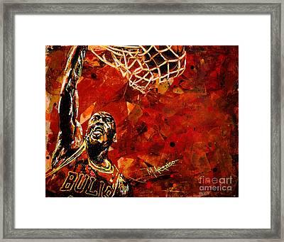 Michael Jordan Framed Print by Maria Arango
