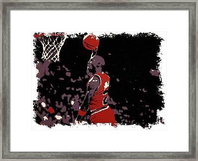 Michael Jordan Poster Art Dunk Framed Print by Florian Rodarte