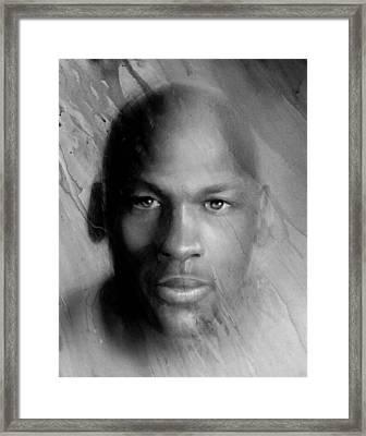 Michael Jordan Potrait Framed Print by Angie Villegas