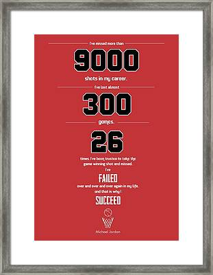 Michael Jordan Quote Sports Inspirational Quotes Poster Framed Print by Lab No 4 - The Quotography Department
