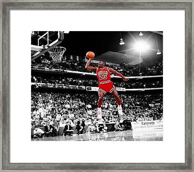 Michael Jordan Slam Dunk Contest Framed Print by Brian Reaves