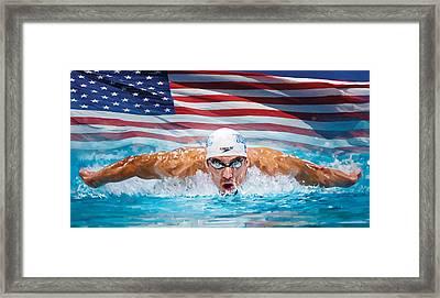 Michael Phelps Artwork Framed Print by Sheraz A