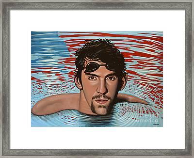 Michael Phelps Framed Print by Paul Meijering