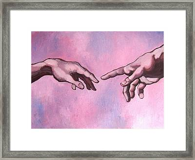 Michealangelo Hands 'creation' - A Study Framed Print by Khairzul MG