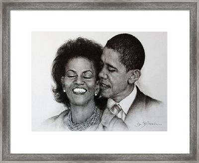 Michelle Et Barack Obama Framed Print by Guillaume Bruno
