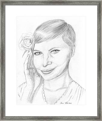 Michelle Williams Framed Print by Jose Valeriano