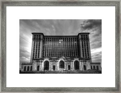 Michigan Central Station Bw Framed Print by Jonathan Davison
