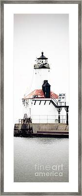 Michigan City Lighthouse Vertical Panorama Framed Print by Paul Velgos