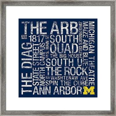 Michigan College Colors Subway Art Framed Print by Replay Photos