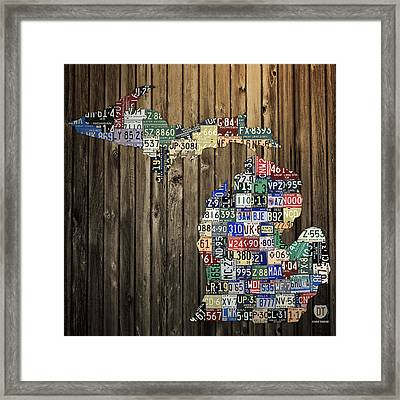 Michigan Counties State License Plate Map Framed Print by Design Turnpike