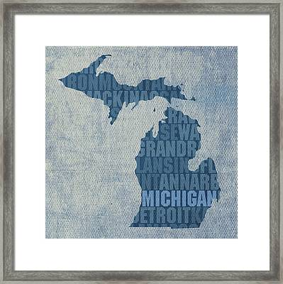 Michigan Great Lake State Word Art On Canvas Framed Print by Design Turnpike