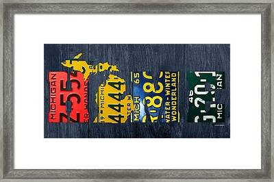 Michigan Home Recycled Vintage License Plate Art State Shape Lettering Phrase Framed Print by Design Turnpike