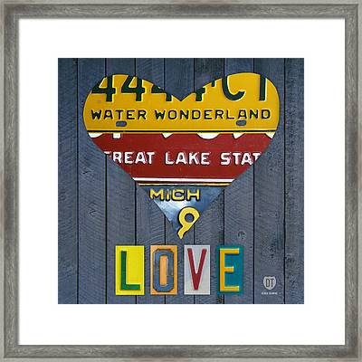 Michigan Love Heart License Plate Art Series On Wood Boards Framed Print by Design Turnpike