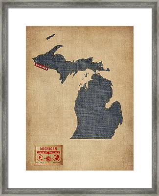 Michigan Map Denim Jeans Style Framed Print by Michael Tompsett