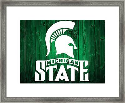 Michigan State Barn Door Framed Print by Dan Sproul