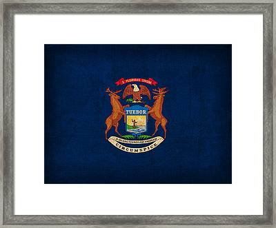 Michigan State Flag Art On Worn Canvas Framed Print by Design Turnpike