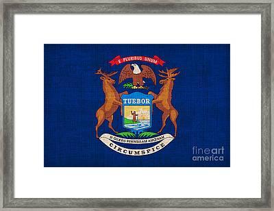 Michigan State Flag Framed Print by Pixel Chimp