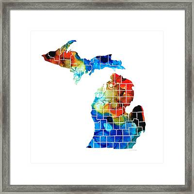 Michigan State Map - Counties By Sharon Cummings Framed Print by Sharon Cummings