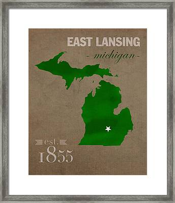Michigan State University Spartans East Lansing College Town State Map Poster Series No 004 Framed Print by Design Turnpike
