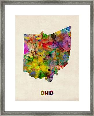 Ohio Watercolor Map Framed Print by Michael Tompsett