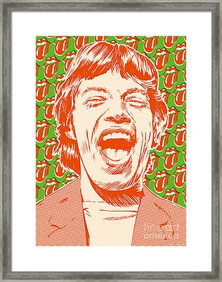 Mick Jagger Pop Art Framed Print by Jim Zahniser