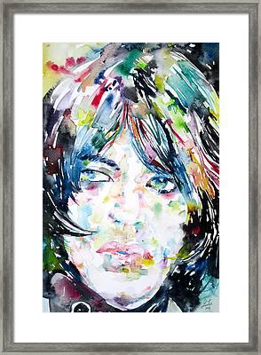 Mick Jagger - Watercolor Portrait.1 Framed Print by Fabrizio Cassetta