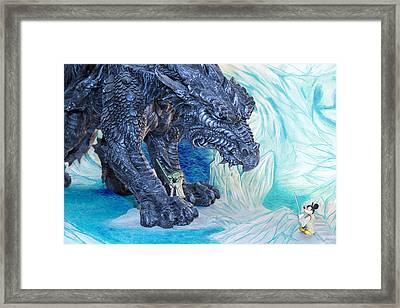 Mickey And Yoda Vs Ice Dragon Framed Print by Bill Tiepelman