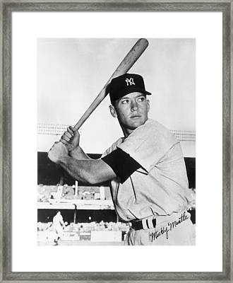Mickey Mantle At-bat Framed Print by Gianfranco Weiss