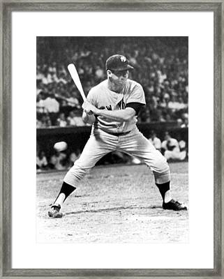 Mickey Mantle At Bat Framed Print by Underwood Archives