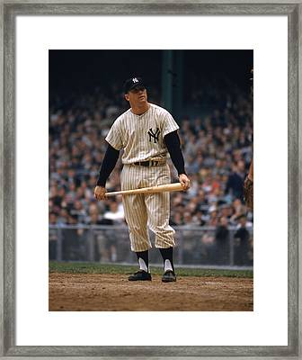 Mickey Mantle In Yankee Stadium Framed Print by Retro Images Archive
