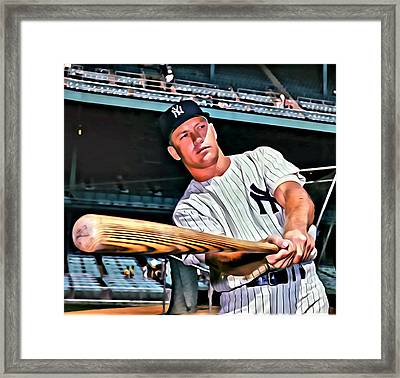 Mickey Mantle Painting Framed Print by Florian Rodarte