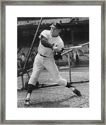 Mickey Mantle Poster Framed Print by Gianfranco Weiss