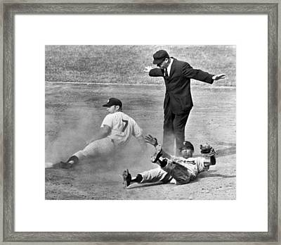 Mickey Mantle Steals Second Framed Print by Underwood Archives