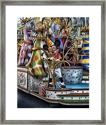Mickey Mouse On His Celebrate It Float Framed Print by Thomas Woolworth