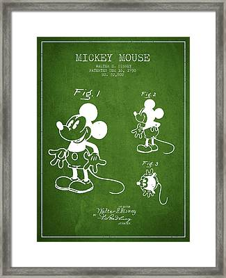 Mickey Mouse Patent Drawing From 1930 - Green Framed Print by Aged Pixel