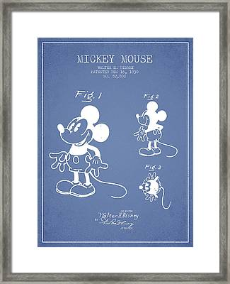 Mickey Mouse Patent Drawing From 1930 - Light Blue Framed Print by Aged Pixel