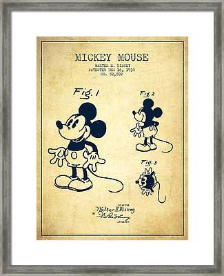 Mickey Mouse Patent Drawing From 1930 - Vintage Framed Print by Aged Pixel