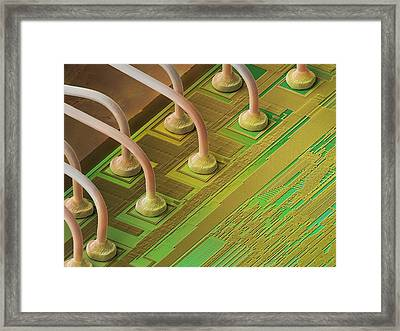 Microchip Connectors, Sem Framed Print by Power And Syred