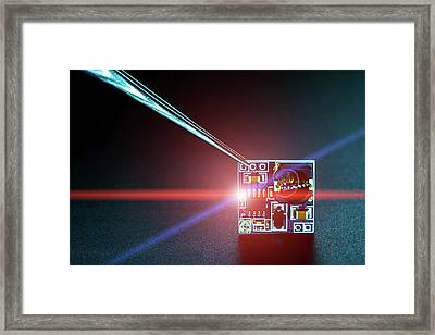 Microchip On Printed Circuit Board Framed Print by Wladimir Bulgar