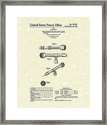 Microphone 1968 Patent Art Framed Print by Prior Art Design