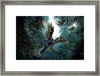 Microraptor Framed Print by Jaime Chirinos