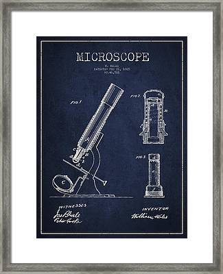 Microscope Patent Drawing From 1865 - Navy Blue Framed Print by Aged Pixel
