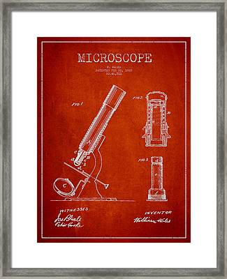 Microscope Patent Drawing From 1865 - Red Framed Print by Aged Pixel