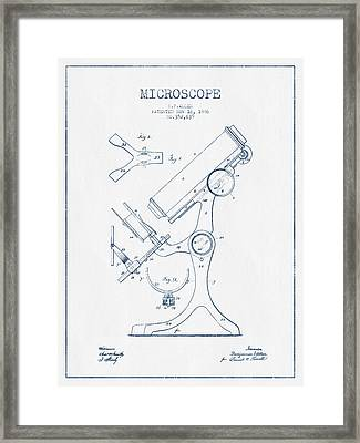 Microscope Patent Drawing From 1886 - Blue Ink Framed Print by Aged Pixel