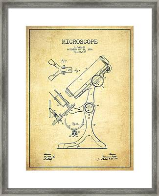 Microscope Patent Drawing From 1886 - Vintage Framed Print by Aged Pixel